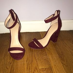Wine colored suede strappy heels